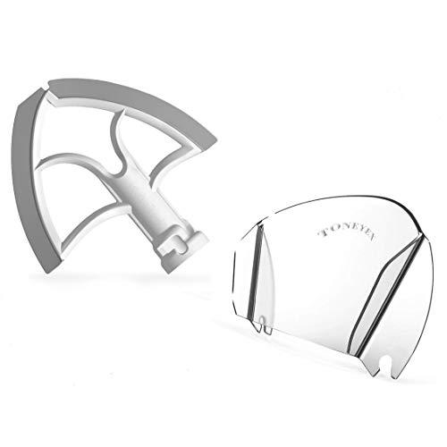 tellaLuna Batidor plano, bordes de silicona flexibles bilaterales, rascador para cuencos de 4.5 – 5 cuartos de galón y escudo para mezclador de soporte