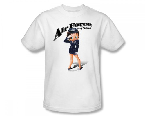 Betty Boop - - Air Force Boop adultes Slim Fit T-shirt en blanc, Small, White