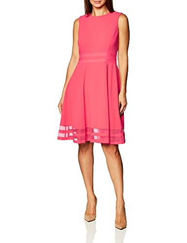 Calvin Klein Women's Sleeveless Round Neck Fit and Flare Dress, Watermelon, 8