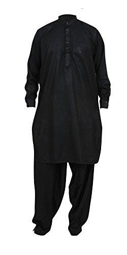 Desert Dress - Tunique Costume Homme Déguisement Traditionnelle Afghan Pakistanais Indien Shalwar Kameez Costume Habillé Neuf avec Pantalon - TU, Noir