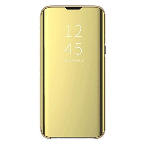 Funda compatible con Huawei P30 Lite New Edition, Spiegels funda con función de atril, funda protectora compatible con cargador inalámbrico, funda negra (amarillo, Huawei P30 Lite New Edition)