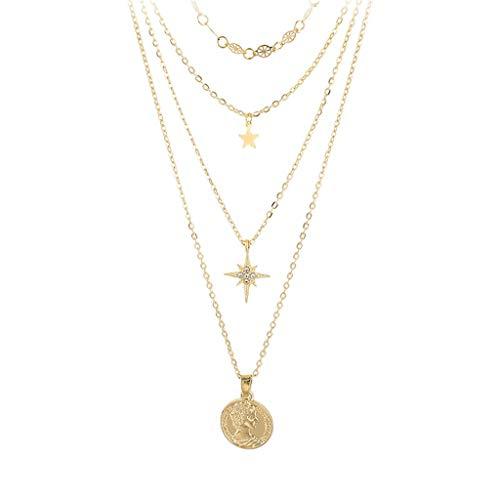 Satiable Halskette Damen Mode Layering Kette Frauen Elegant Sterne und Auge Schlüsselbein Anhänger Mädchen Gold Ketten Einfache Nette Schmuck Geschenk für Frauen