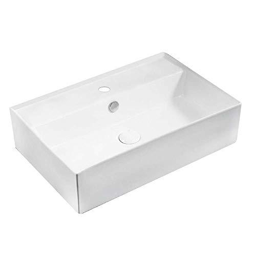 Lavabo rettangolare da appoggio'LA 52' dimensioni 59,5 x 40 cm in ceramica con foro per rubinetteria e troppo pieno, bianco