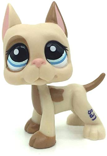 N/N Littlest Pet Shop, LPS Toy Great Dane Dog Puppy Pink Ear Brown Patches Spotted