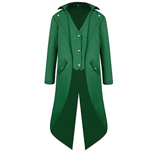 IMJONO Jacket,2019 Neujahrs Karnevalsaktion Herren-Coat Tailcoat Jacket Gothic Frock Coat Uniform Costume Praty (XXX-Large,Grün)