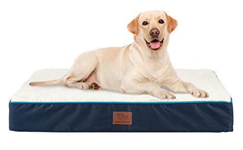 SunStyle Home Reversible Pet Dog Bed for Small, Medium, Large Dogs Up to 50/75/100lbs, Pet Mat with Waterproof Removable Cover Bed for Cats - Orthopedic Egg Crate Foam Platform (X-Large, Dark Blue) Beds