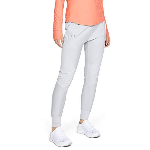 Under Armour Pantalones de Mujer Qualifier Speedpocket, Mujer, Pantalones, 1332977, Halo Gris (014)/Reflectante, XS
