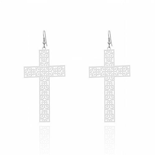 Nationale Persoonlijkheid kruis Oorbellen Accessoires voor Vrouwen Mode Punk Holle Patroon oor Haken, wit