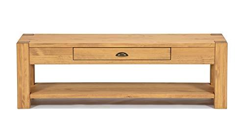 Naturholzmöbel Seidel Lowboard 120x38cm Höhe 50cm mit Schublade und Ablageboden Massivholz Sideboard Konsole Anrichte TV Board Wandtisch, Rio Bonito Pinie Massiv Honig Hell (Höhe 50cm, Pinie)