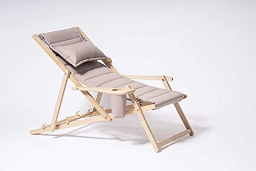 MyDeer Holz Liegestuhl klappbar, Lounge Sessel mit Kissen, Sonnenliege für Garten, Balkon, Camping, Klappstuhl mit Armlehne & Getränkehalter, Modern Gartenstuhl, Relaxliege, Beige Stuhl