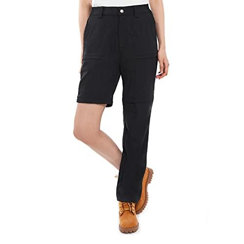 Vzteek Damen Trekkinghose Zip Off Wanderhose kurzgröße lang Walking Funktionshose Bequeme Stretch Sommer Outdoor(Dunkles Schwarz,XL)