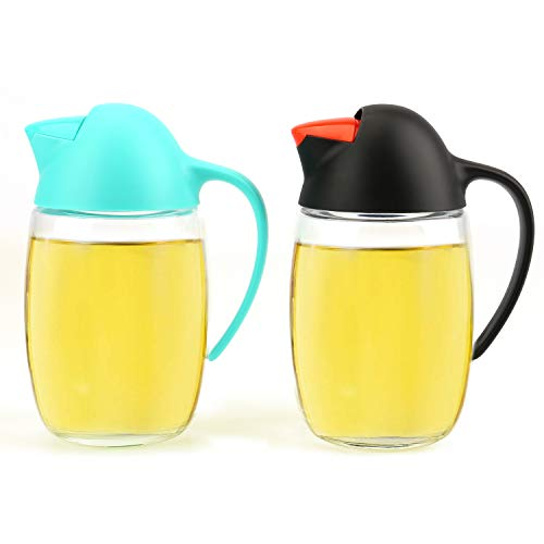 Lawei 2 Packs 21 oz Oil Dispenser Bottle - Automatic Cap Glass Olive Oil and Vinegar Bottle - Anti-Drip Dispensing Container for Kitchen