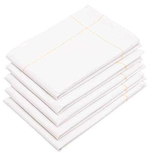 ZOLLNER 5 Strofinacci, 60% Cotone e 40% Lino, 45x65 cm, Bianco e Giallo