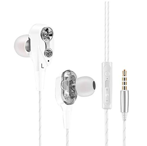 Auriculares compatibles con Xiaomi Mi A1 con microfono dual dynamic drivers in-ear estereo cascos auriculares con cable control volumen cancelacion ruido (Blanco)