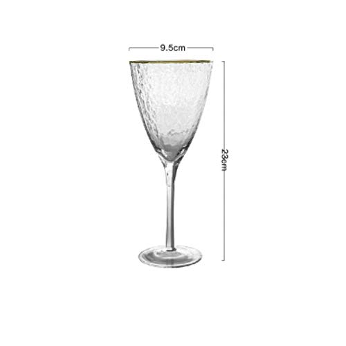Hoge Kwaliteit Gouden Rand Hamer Patroon Glas Cup Wijn Glas Champagne Cup mousserende Wijn Goblet Cocktail Champagne Glas Bekers 370 ml.