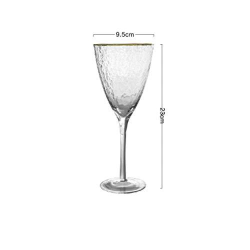 Hoge Kwaliteit Gouden Rand Hamer Patroon Glas Cup Wijn Glas Champagne Cup mousserende Wijn Goblet Cocktail Champagne Glas Bekers 370 ml.