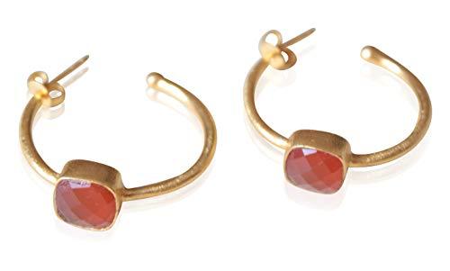 Aros Pendientes Mujer - Aros bañados en Oro 18K con Piedra Semipreciosa Cornalina - Pendientes Dorados Naranja/Marrón para mujer