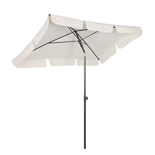 Sekey® 200 × 125 cm Sonnenschirm Marktschirm Gartenschirm Terrassenschirm Sonnenschutz UV 50+ Weiß Quadratisch