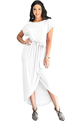 KOH KOH Plus Size Womens Long Crewneck Casual Short Cap Sleeve Sexy Slit Split Pencil Skirt Beach Spring Summer Gown Gowns Solid Stretchy Modest Maxi Midi Dress Dresses, White XL 14-16