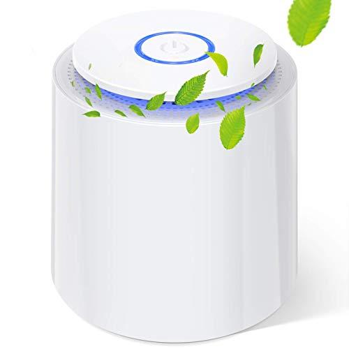 Mini Purificador de Aire con Filtro HEPA Verdadero Purificadores de Escritorio Portátiles con Función de Aromaterapia, Luz Nocturna, Cable USB para Polvo, Alergias, Caspa de Mascotas, Polen, Olores
