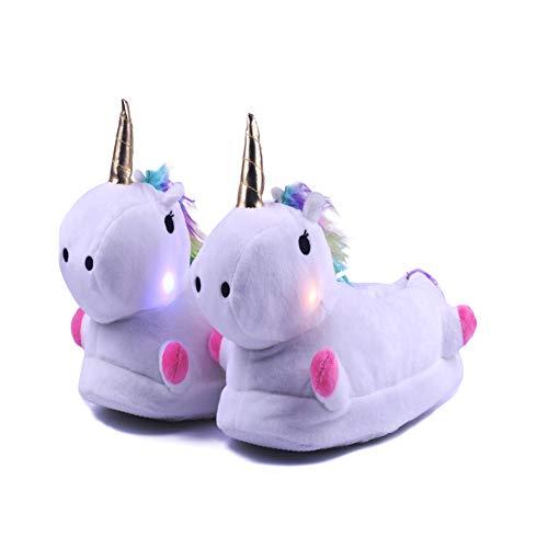 Kimily Femme Homme Fille Garçon LED 3D Chaussons Licorne Petite Amie Pantoufle Hiver Peluche Unicorn Personnalité Chaussures de Maison