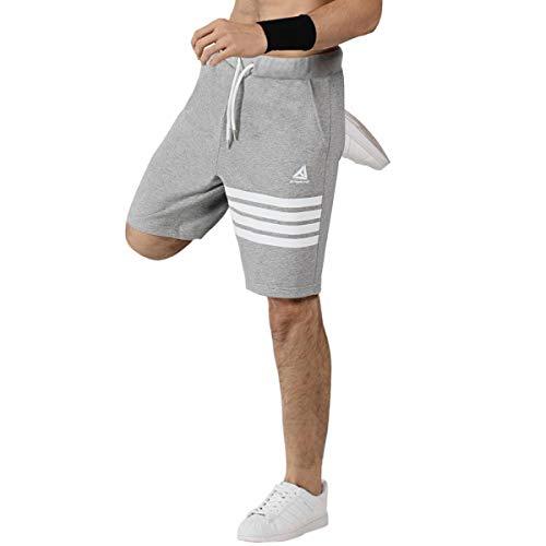 Homme Short de Sport en Coton imprimé Running Pantalon Court de Gymnastique Rugby avec Poches de Football Demi-Pantalon de Football Couleurs Gris Noir Bleu Marine (L, Gris)