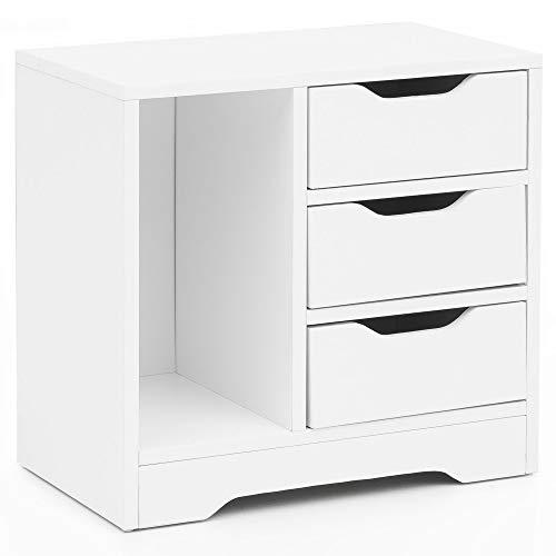 FineBuy Nachtkonsole FB13517 49 x 50 x 30 cm Weiß 3 Schubladen 1 Ablagefach | Weisse Nachtkommode mit Stauraum | Nachttisch Schlicht Modern | Nachtschränkchen Klein | Bettkommode Schlafzimmer