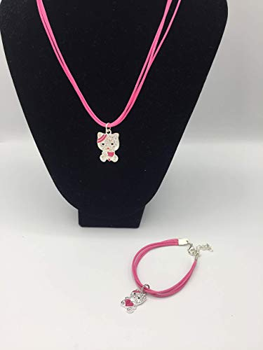 ML Set Collar de Cuero, Pulsera y Anillo para niñas Hello kity