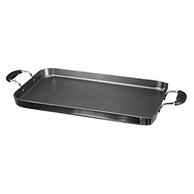 T-fal A92114/C4061484 Specialty Nonstick Dishwasher Safe 18-Inch x 11-Inch Double Burner Family Griddle Cookware, 18-Inch, Black