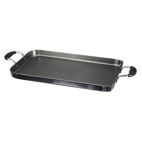 T-fal A92114 / C4061484 Specialty Nonstick Dishwasher Safe 18-Inch x 11-Inch Double Burner Family Griddle Cookware, 18-Inch, Black -