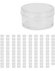 100 stuks cosmetica-potjes, kleine cilinder, kunststof glazen, transparant bewaargereedschap voor het bewaren van cosmetica, oorstekers, pillen, parels