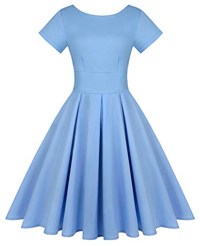 MINTLIMIT Women's Short Sleeve 1950s Retro Vintage Cocktail Swing Dresses (Solid Light Blue,Size M)
