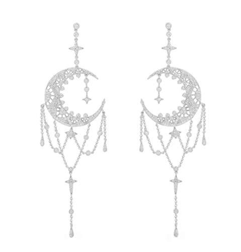 Diamantes de cristal con microconjunto de plata esterlina S925 Una versión casera de los aretes colgantes de la luna que fluye agua diosa temperamento-silver_925 silver
