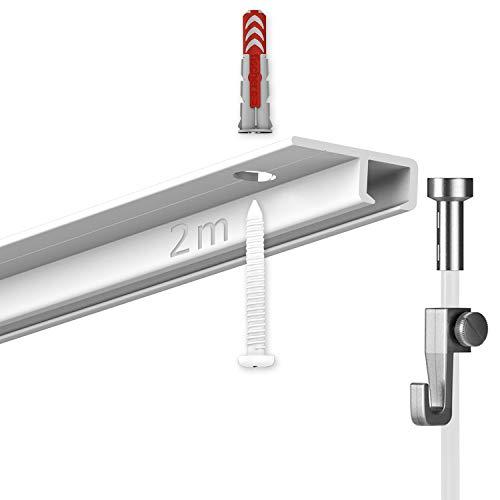hang-it 2 Meter Deckenschienen - Galerieschienen - Bilderschienen Komplett Set 1 x 2m