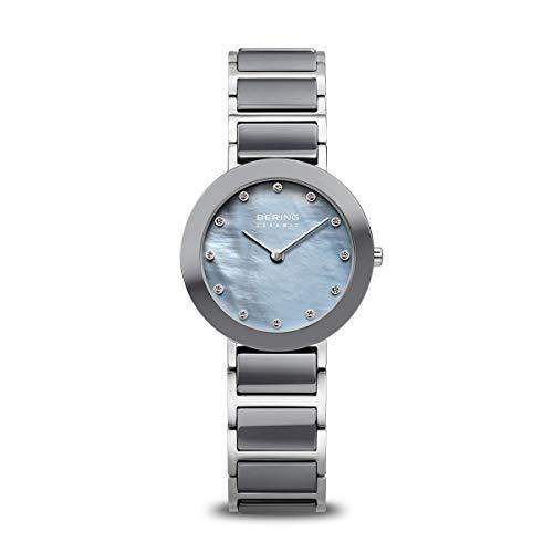BERING Damen Analog Quarz Ceramic Collection Armbanduhr mit Edelstahl/Keramik Armband und Saphirglas 11429-789