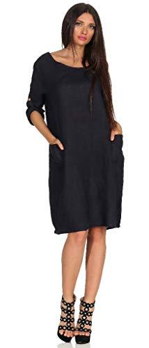 Mississhop Damen 100% Leinenkleid Casual Shirtkleid Style Strandkleid Sommerkleid in modischer Schnittführung 306 dunkelblau