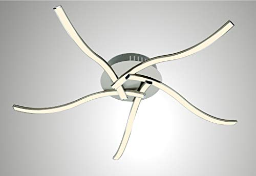 Trango 5-fllammig Plafonnier LED moderne, plafonnier, lampe de salon LED lampe de salle de bain TG3161 avec 5 modules LED 3000K blanc chaud - rendement lumineux total 2100 lumens spots de plafond