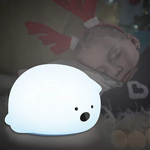 Luz Nocturna Bebé,LED Silicona Lámpara de Oso con USB Recargable,7 Colors Cambiante y Brillo Ajustable Control Táctil