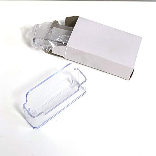 2 unidades de Tarjetero de escritorio, color transparente. Porta tarjetas horizontal de sobremesa 96x47mm para hogar oficina o negocio