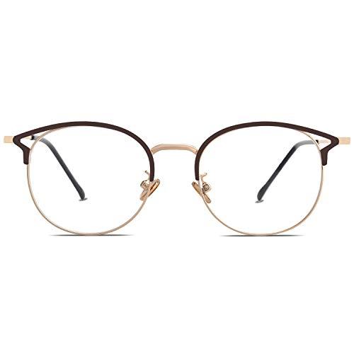 SOJOS Small Cat Eye Blue Light Blocking Glasses Women Computer Eyeglasses Oasis SJ5035 with Brown Frame/Gold Rim/Anti-blue Light Lens