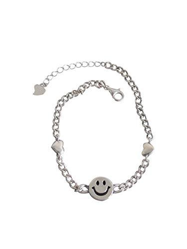 Retro Liebe Smiley Sterling Silber Armband Weibliches Design Sinn Einfache Mode Persönlichkeit Hipster Armband Hip Hop