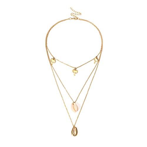 Weryffe Collar de mujer multicapa con colgante de coco, cadena larga, gargantilla (oro)