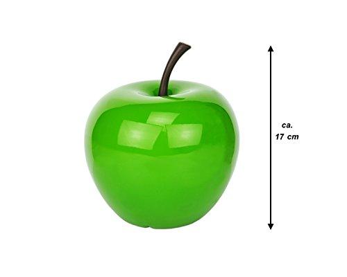 Pottery Pots Apple Glazed Green, Größe XS, Ø 145 mm, H 170 mm, handgefertigter Deko-Apfel, apfelgrün glasiert, Robustes Fiberglas, grün glänzend, Innen & Außen-Deko, witterungsbeständig, Früchte-Deko
