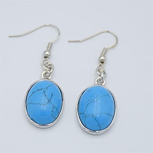 ABCBCA 1 par Mujer Mujer CARNULANO Azul Sodalite Rhodonite Rhodonite Cristal LABIS Opal Malachite Tiger Eye Piedra Oval Joya Pendientes de Gota cuelgante Joyas (Metal Color : Blue Turquoise)