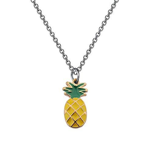 Ni36uo0qitian0ozaap Collar de piña, regalos de piña para mujer, accesorios de joyería, hospitalidad, ser una piña, regalos de comida, collar de frutas