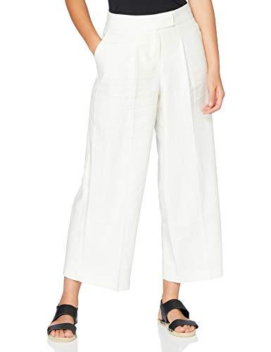 Marca Amazon - find. Pantalón Corto de Lino Mujer, Blanco (White), 40, Label: M