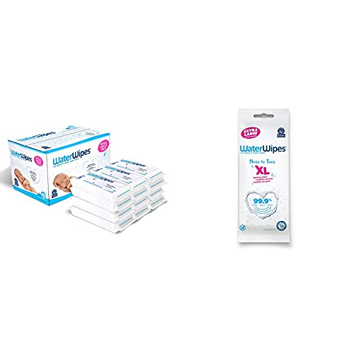 Baby Wipes -WaterWipes Sensitive Baby Diaper Wipes,99.9% Water,Unscented & Hypoallergenic,for Newborn Skin,12 Packs (720ct) & WaterWipes XL Unscented,No-Rinse Textured Bath Wipes,1 pack(16ct)