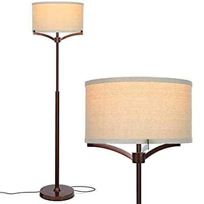 Brightech Elijah Modern Floor Lamp for Bedrooms – Mid Century Free Standing Light for Living Room or Office Bright Lighting — Tall Reading Indoor Pole Lamp with Drum Shade - With LED Bulb - Bronze