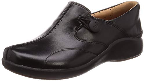Clarks Un.loop2 Walk, Mocasines para Mujer, Negro (Black Leather Black Leather), 37.5 EU