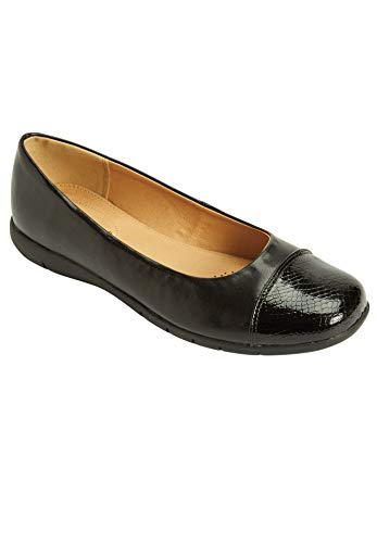 Comfortview Women's Wide Width The Fay Flat Shoes - 12 M, Black